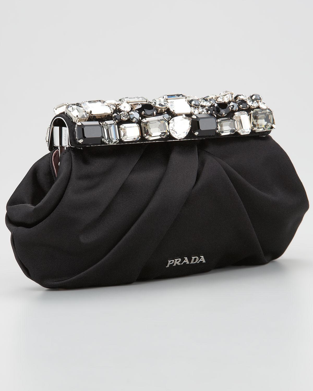 c25bcc882acc ... promo code for lyst prada jeweled satin clutch bag in black 3abc2 f9783