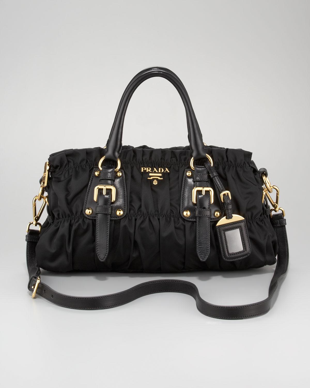 cb6f413cce ... closeout lyst prada tessuto gaufre satchel bag in black a66b9 f2a0e