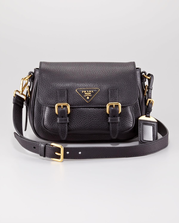 9a6587d0493 Prada Vitello Daino Messenger Bag in Black - Lyst