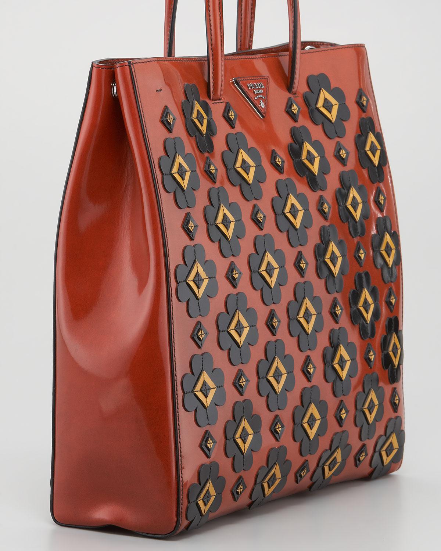 f16d87b48279 Lyst - Prada Floral Applique Spazzolato Tote Bag in Red