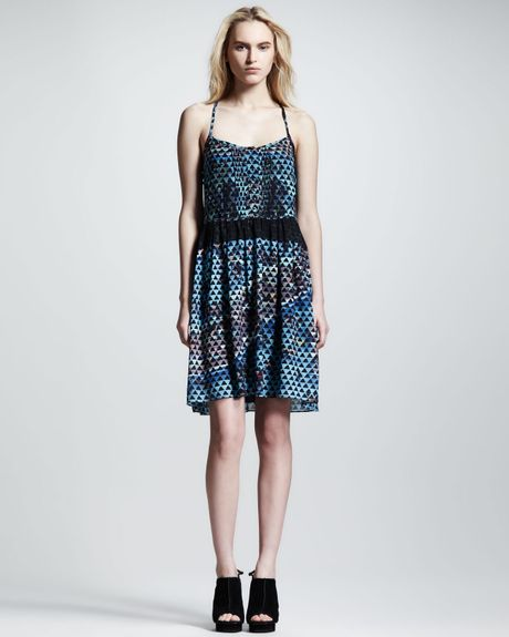 Proenza Schouler Printed Silk Cami Dress in Blue (POOL COLLAGE PRT)