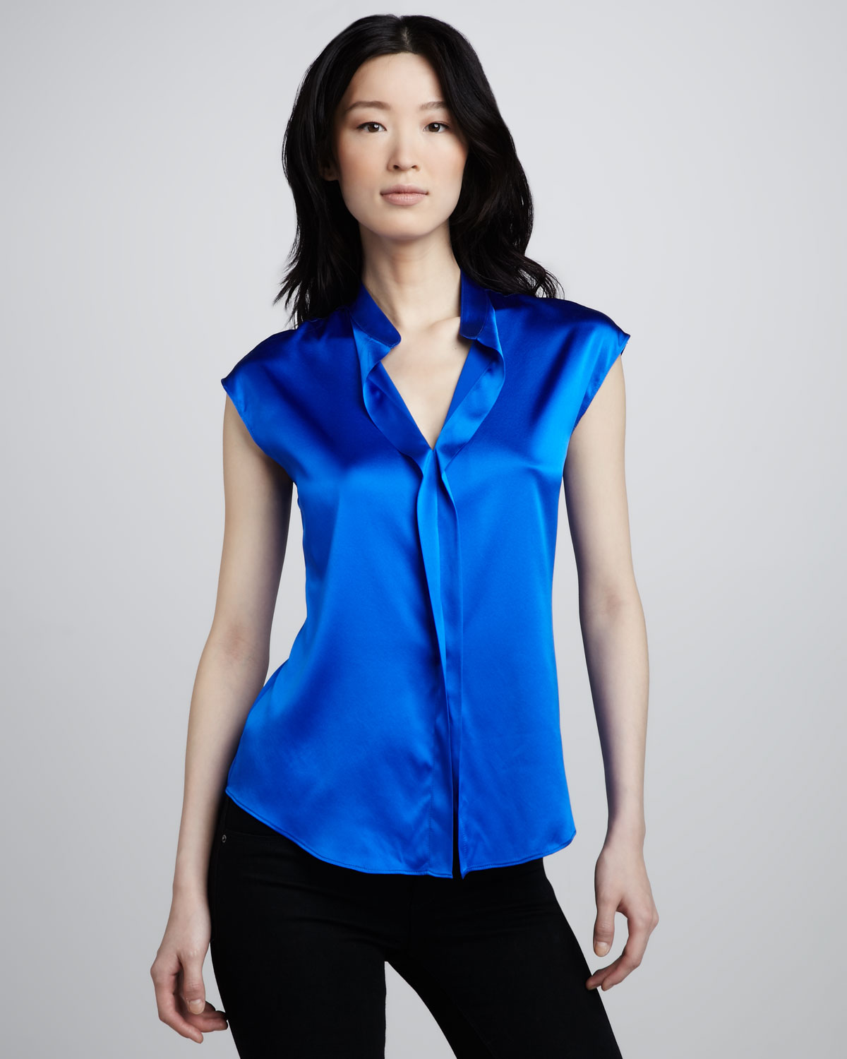 Ramy brook Gemma Shortsleeve Satin Blouse in Blue