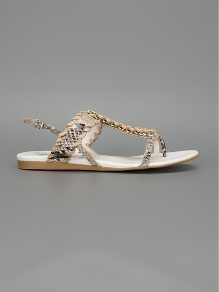 Stella Mccartney Grace Flat Sandals In Beige Green Lyst