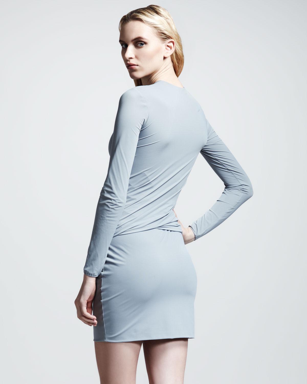 d5feee31023b Lyst - T By Alexander Wang Matte Tricot Twist Dress in Gray