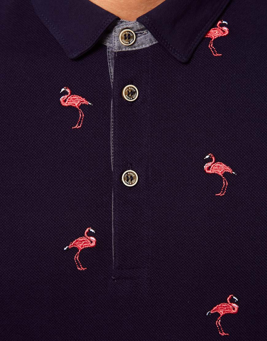 Lyst Ted Baker Polo Shirt With Flamingo Print In Blue For Men