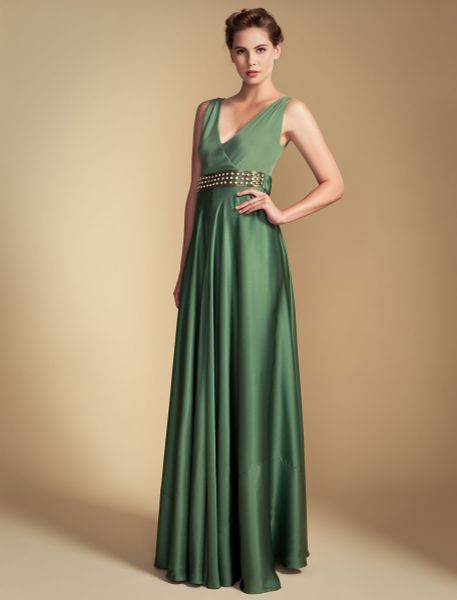 Temperley London Long Stella V-Neck Dress in Green (vintage green) - Lyst