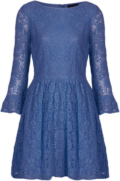 Topshop Crochet Lace Flippy Dress in Blue (cornflower)