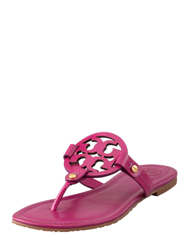 92ca1779ee62 Lyst - Tory Burch Miller Logo Flat Thong Sandal Party Fuchsia in Purple