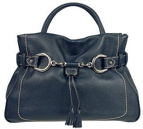 Buti Navy Blue Pebble Italian Leather Satchel Handbag in Blue (navy)