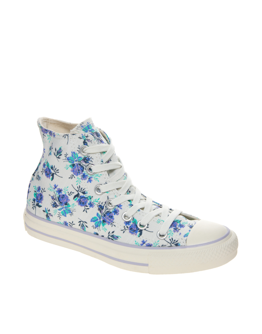 Converse All Star Floral High Top Trainers In Blue