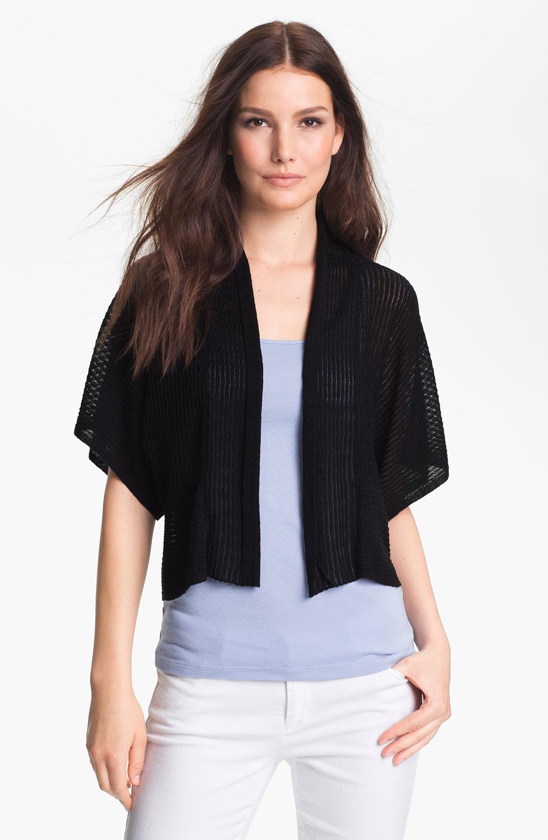 Eileen fisher Cropped Kimono Cardigan Petite in Black | Lyst
