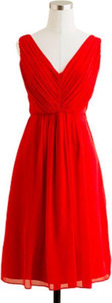 J Crew Louisa Dress In Silk Chiffon In Red Vivid Poppy