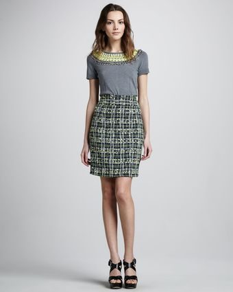 Milly Plaid Pencil Skirt - Lyst