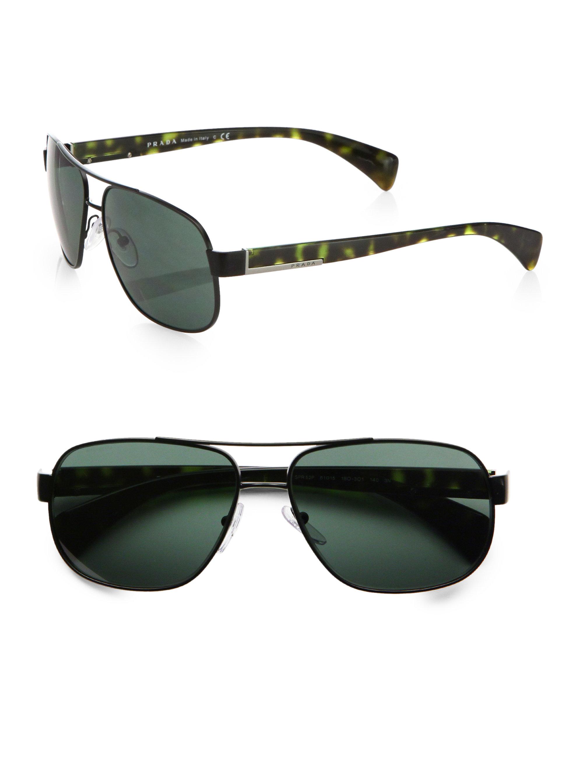 5c7552a9792 ... sale lyst prada classic metal pilot sunglasses in black for men 34d47  49cbc