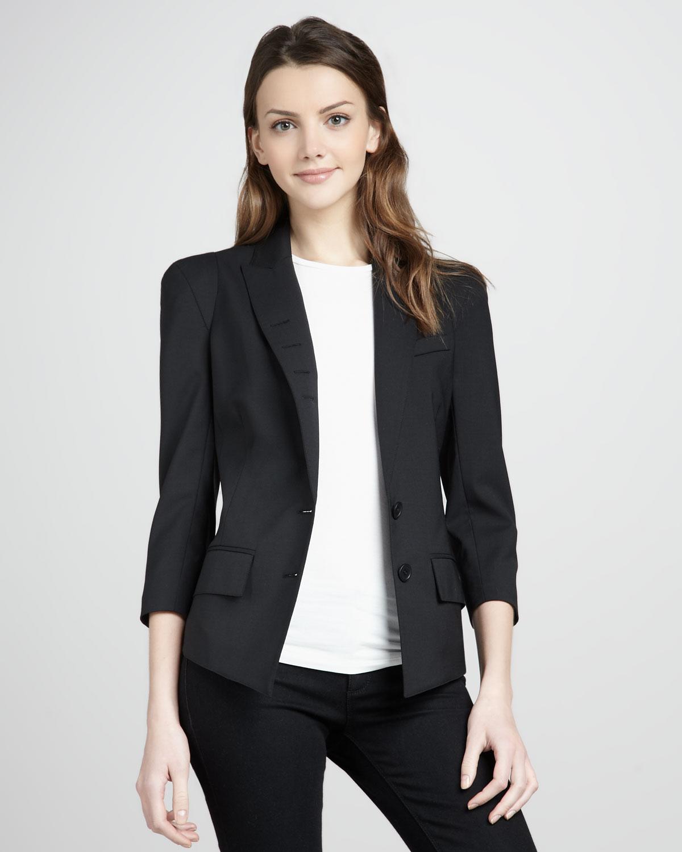 Smythe pagoda 3 4 sleeve blazer in black lyst for Smythe designer