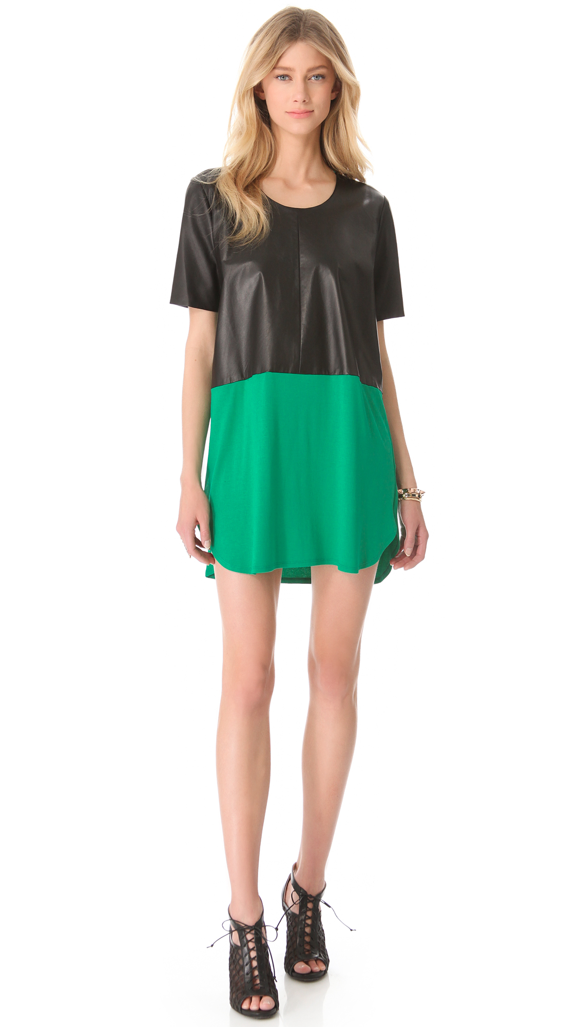 Mason By Michelle Mason Leather Front Tee Dress in Green ...