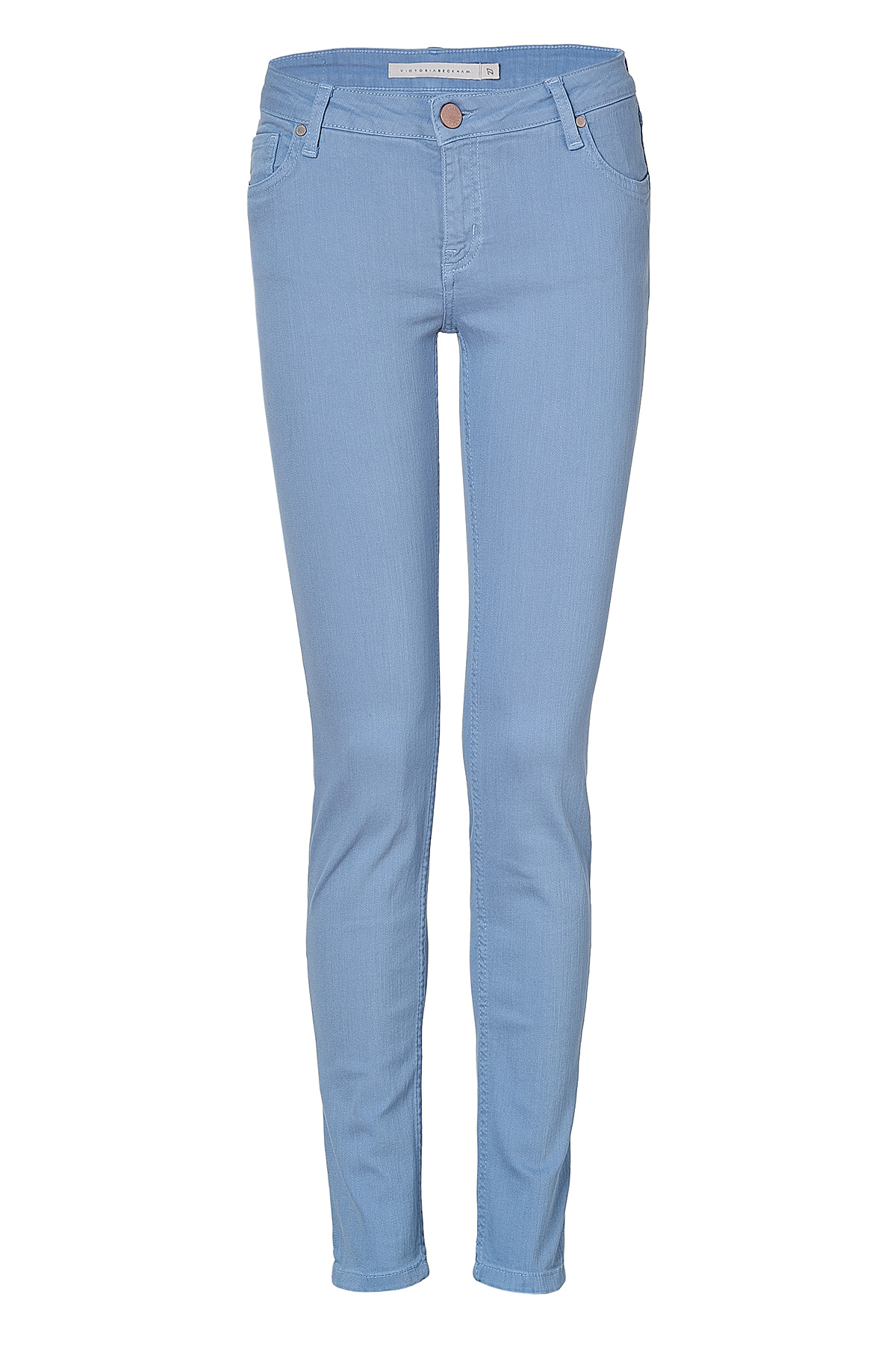 lyst victoria beckham sky chambray power skinny jeans in blue. Black Bedroom Furniture Sets. Home Design Ideas