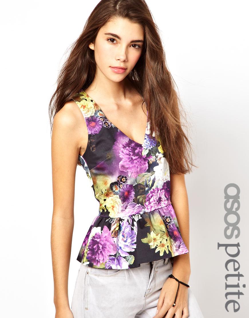 09a1c4739c0c8e Lyst - ASOS Peplum Top in Floral Print in Purple