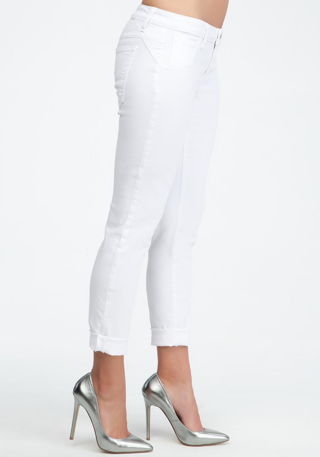 Bebe Cuffed Boyfriend Skinny Jeans in White | Lyst