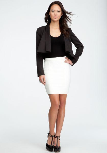 bebe mini pencil skirt in white egret lyst