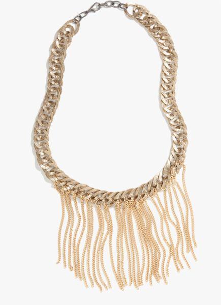 bebe oversized chainlink fringe necklace in gold lyst