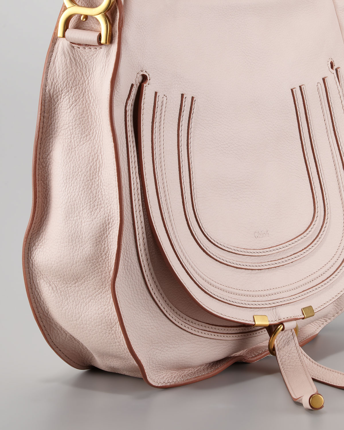 89ff513389e5 Lyst - Chloé Marcie Medium Hobo Bag Nude Pink in Pink