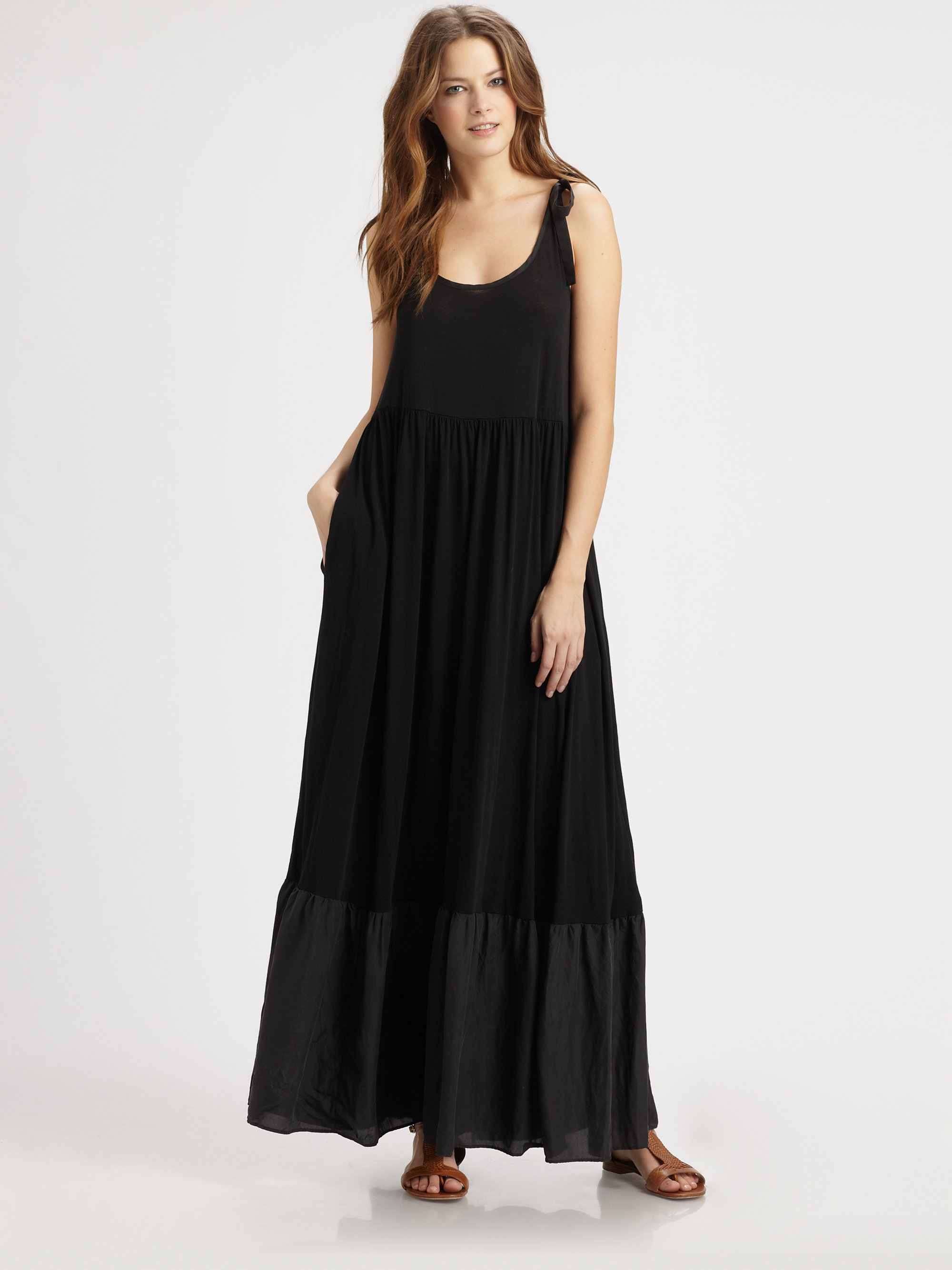 Dkny Maxi Tank Dress in Black | Lyst