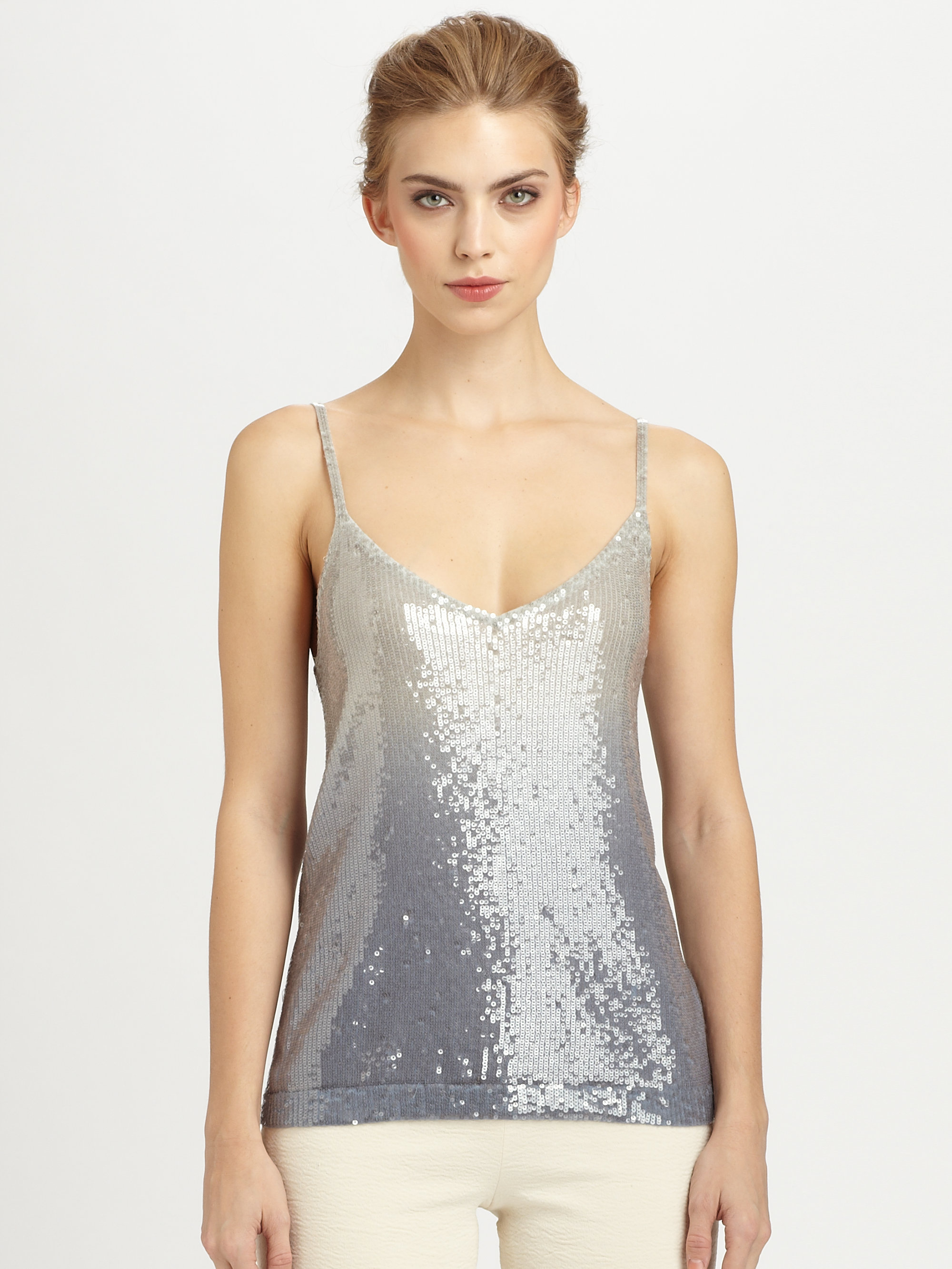 Donna karan new york cashmere ombreacute sequined tank in for Donna karen new york