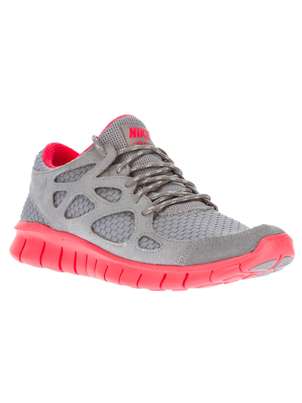 nike free run 2 woven in gray grey lyst. Black Bedroom Furniture Sets. Home Design Ideas