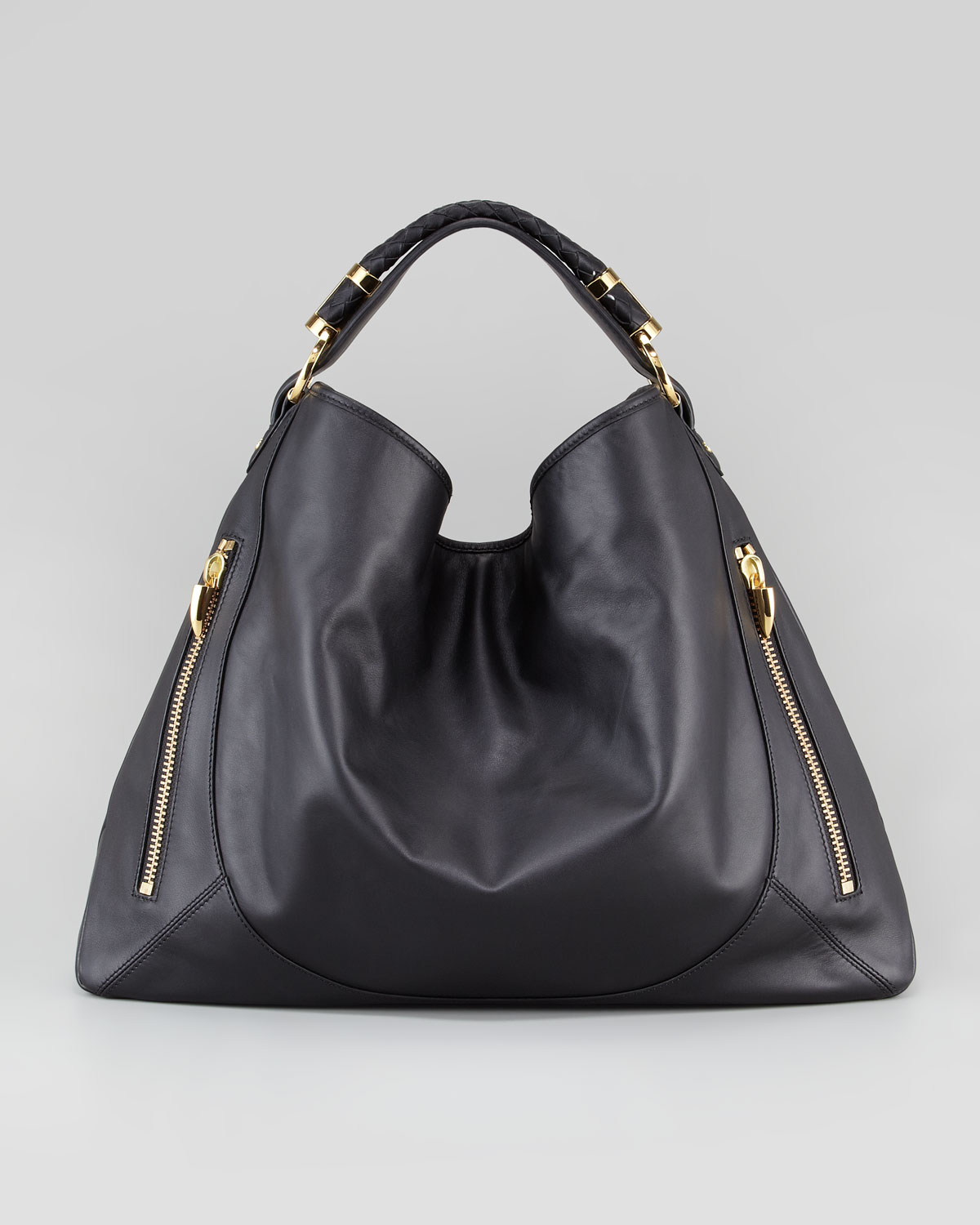 Rachel zoe Joni Leather Hobo Bag in Black | Lyst