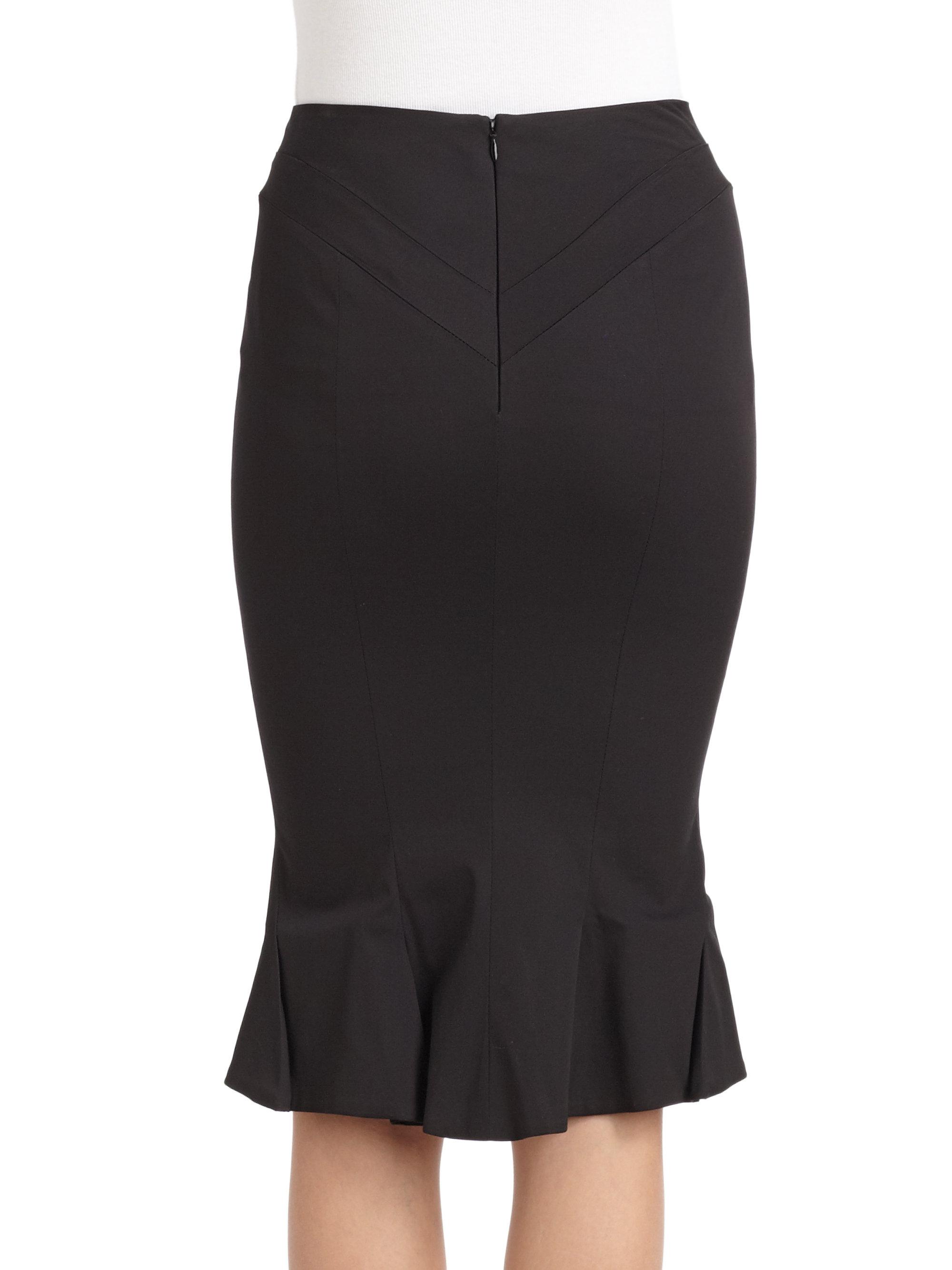 Zac posen Ruffle Back Pencil Skirt in Black | Lyst