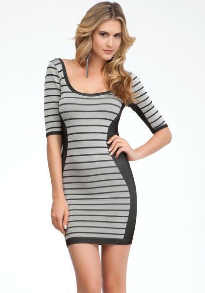Bebe Stripe Define Bodycon Dress In Gray (black Grey)