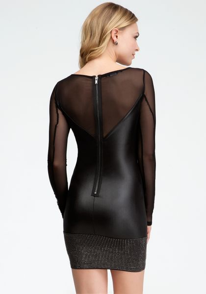 Bebe Studded Band Coated Jersey Dress in Black (blk) | Lyst - photo #17