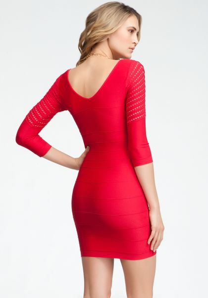 Bebe Mesh Sleeve Ottoman Bodycon Dress In Red Crimson Lyst