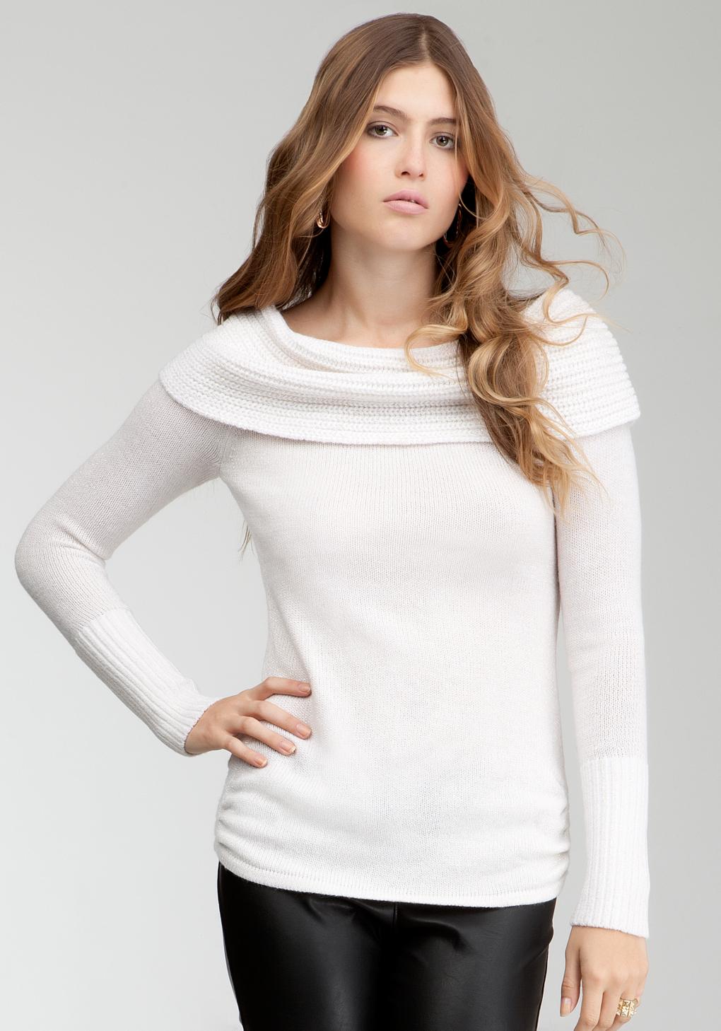 Bebe Off-Shoulder Metallic Sweater in White | Lyst