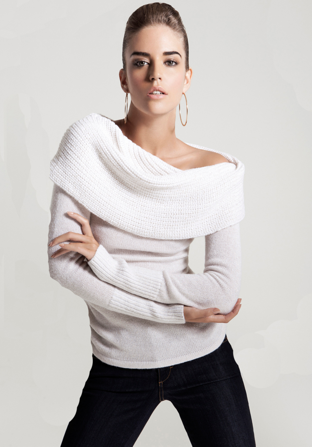 Lyst Bebe Off Shoulder Metallic Sweater In White