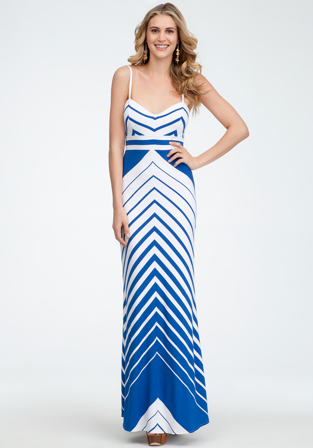 Bebe Empire Waist Stripe Maxi Dress in Blue  Lyst
