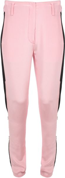 3.1 Phillip Lim Twotone Crepe Silk Trousers with Zipped Legs in Pink (black pink)
