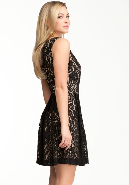 Bebe Lace Vneck Fit Flare Dress In Black Black Nude Lyst