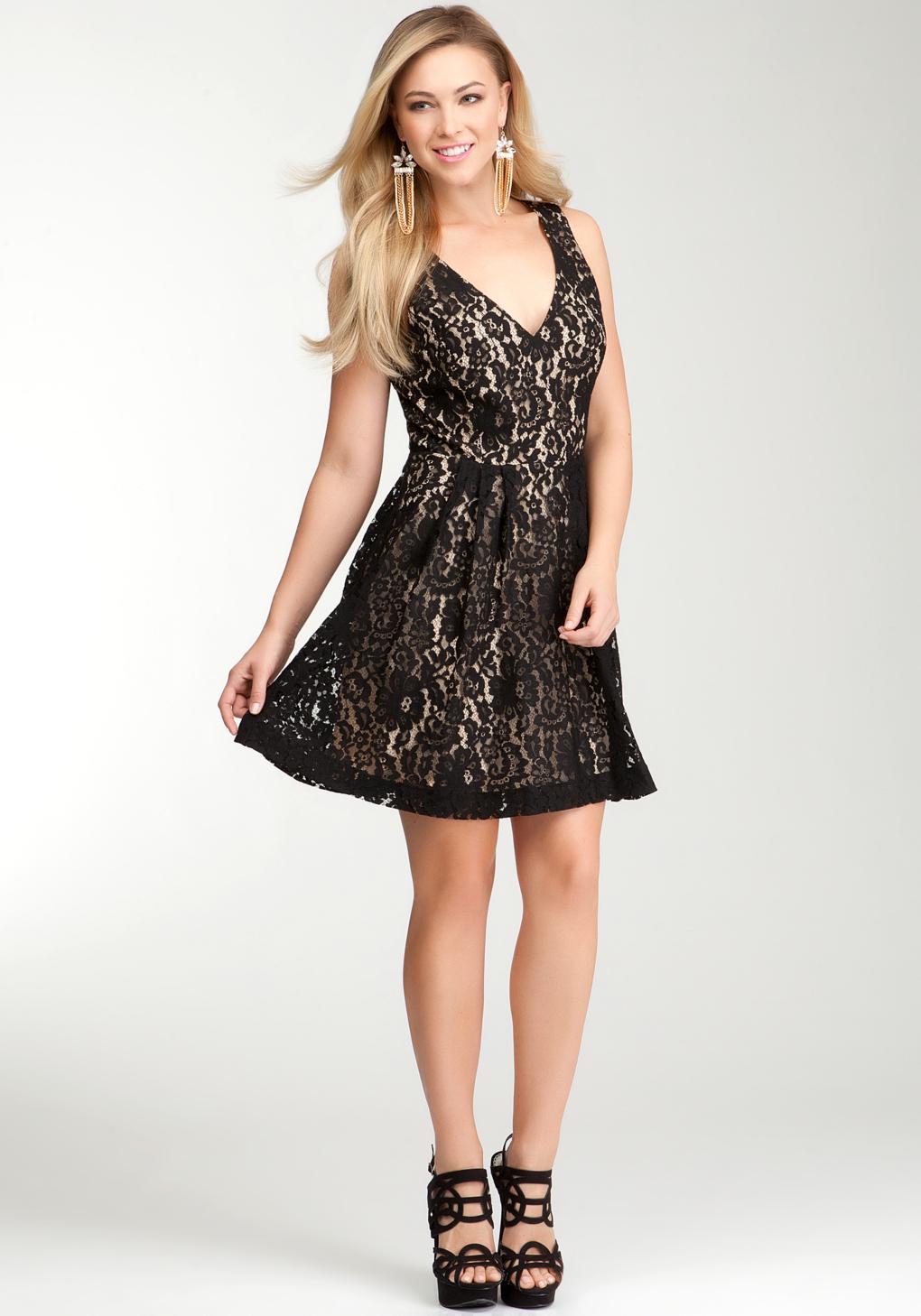 Bebe Lace Vneck Fit Flare Dress In Black Lyst