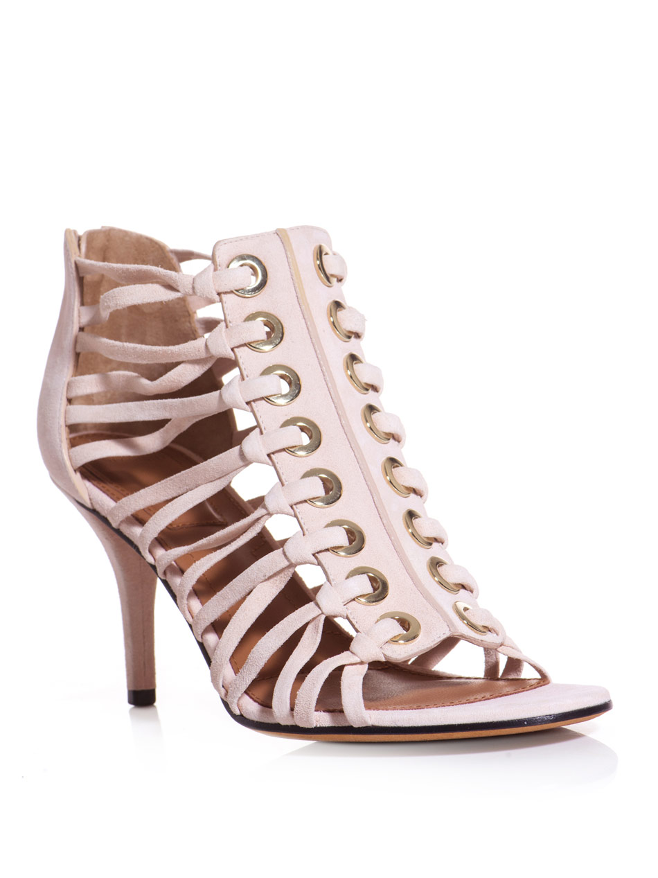 Lyst Givenchy Suede Laced Sandals In Pink