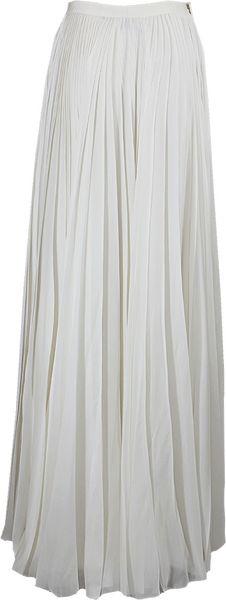 j mendel chiffon pleated maxi skirt in white ivory lyst