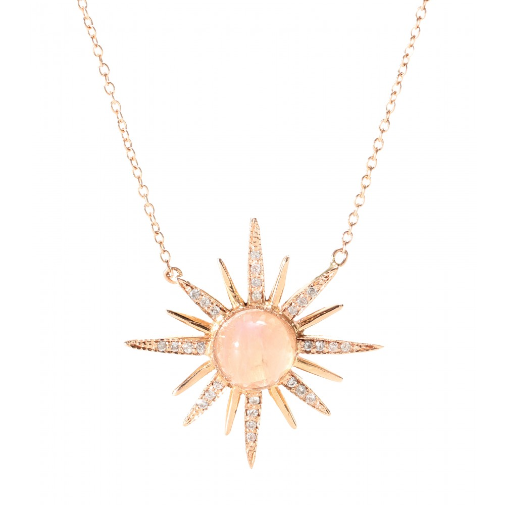 Lyst jacquie aiche 14kt rose gold starburst pendant necklace gallery mozeypictures Images