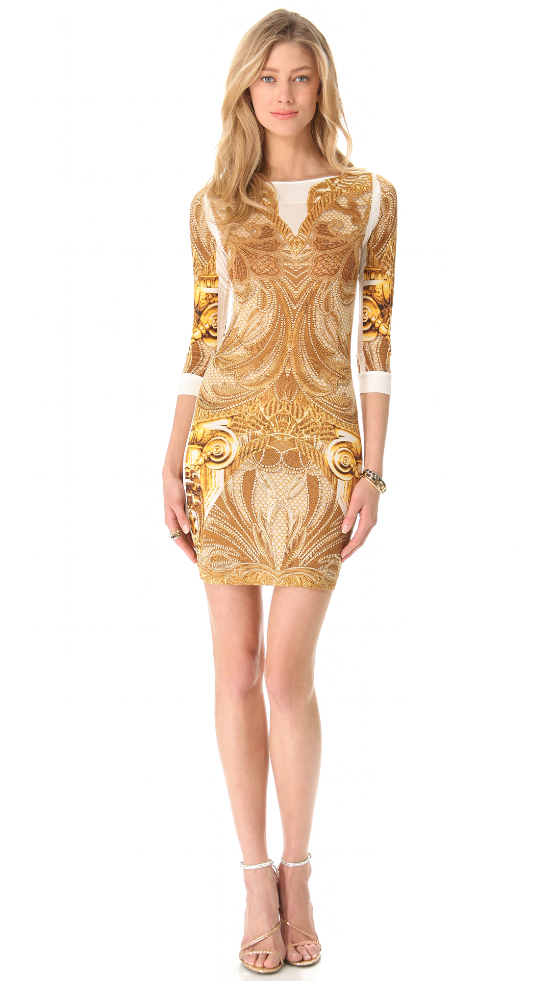 lyst just cavalli athena long sleeve dress in yellow. Black Bedroom Furniture Sets. Home Design Ideas