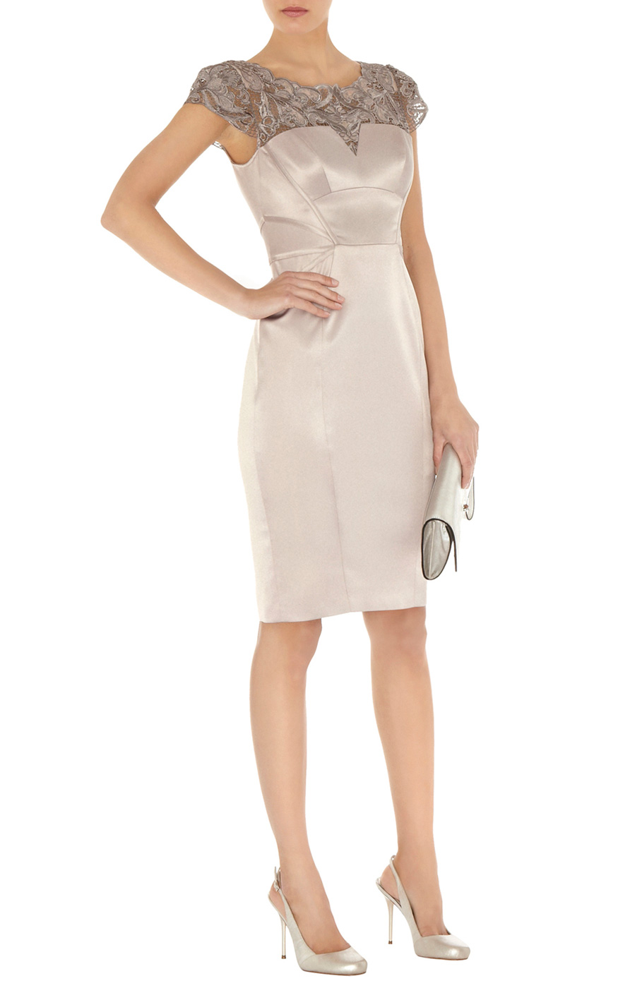 Karen Millen Lace Embroidery Dress in Natural - Lyst