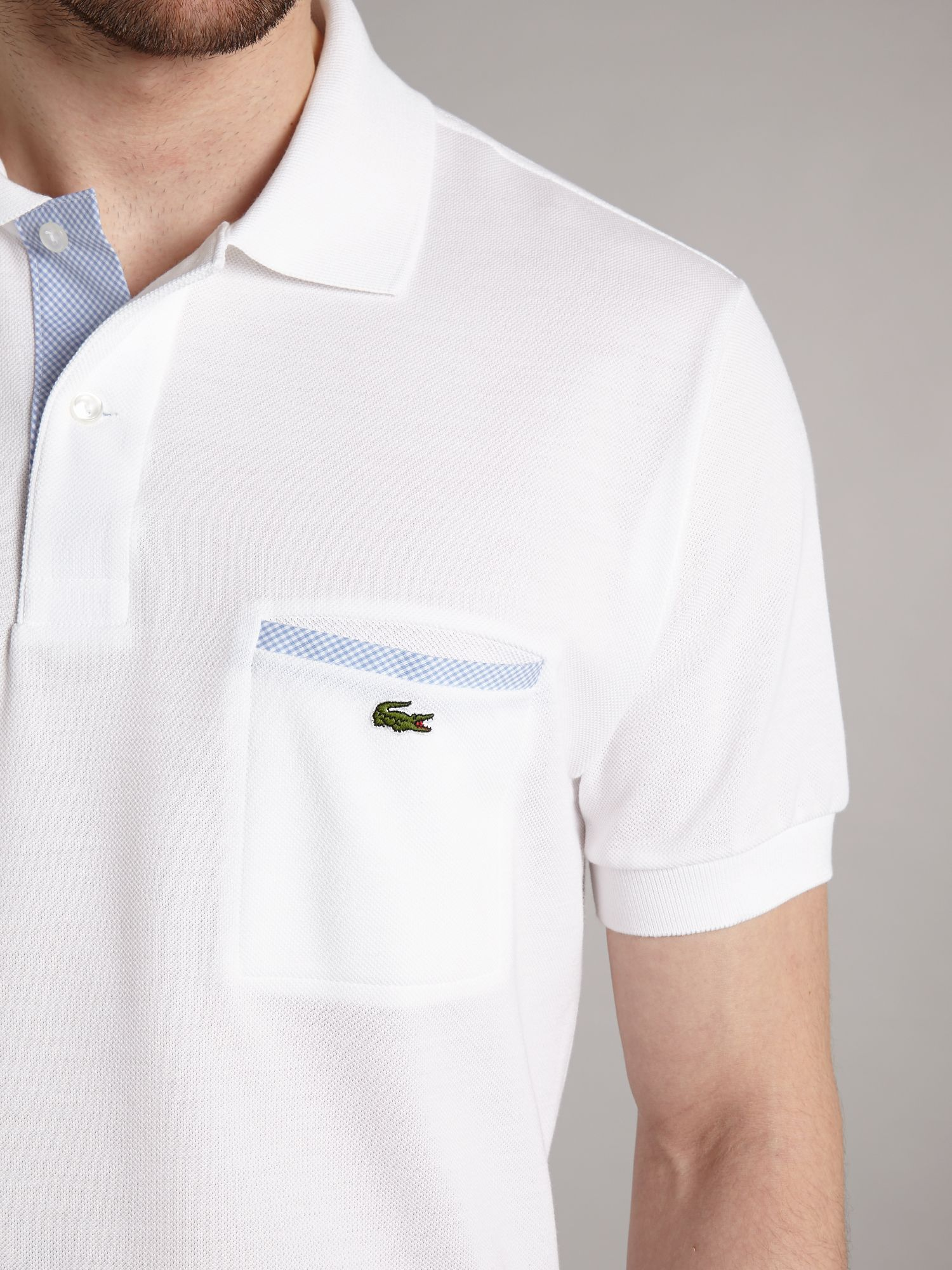 lacoste polo shirt with chest pocket detail in white for. Black Bedroom Furniture Sets. Home Design Ideas