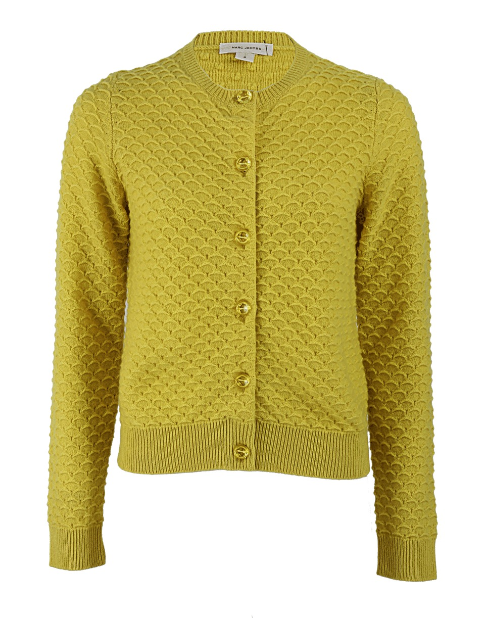 Marc jacobs Cashmere Crew Neck Cardigan in Yellow | Lyst