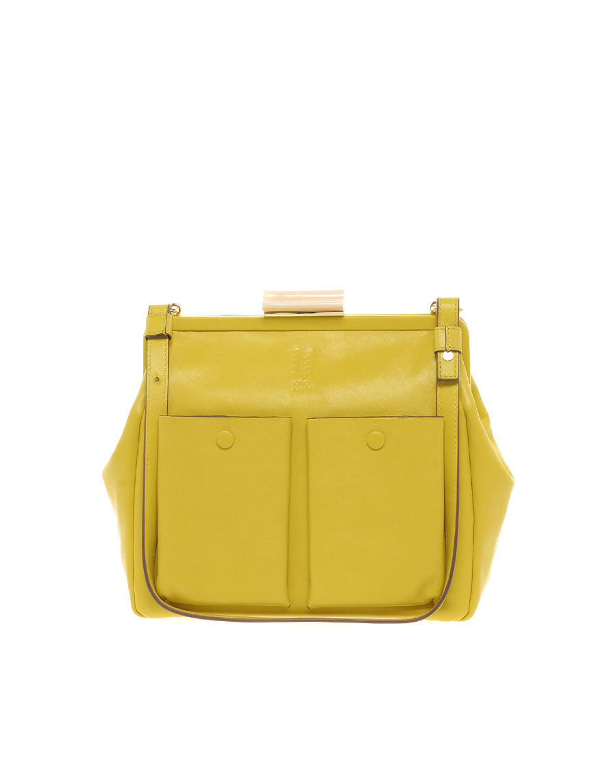 lyst orla kiely leather holly frame bag in yellow. Black Bedroom Furniture Sets. Home Design Ideas