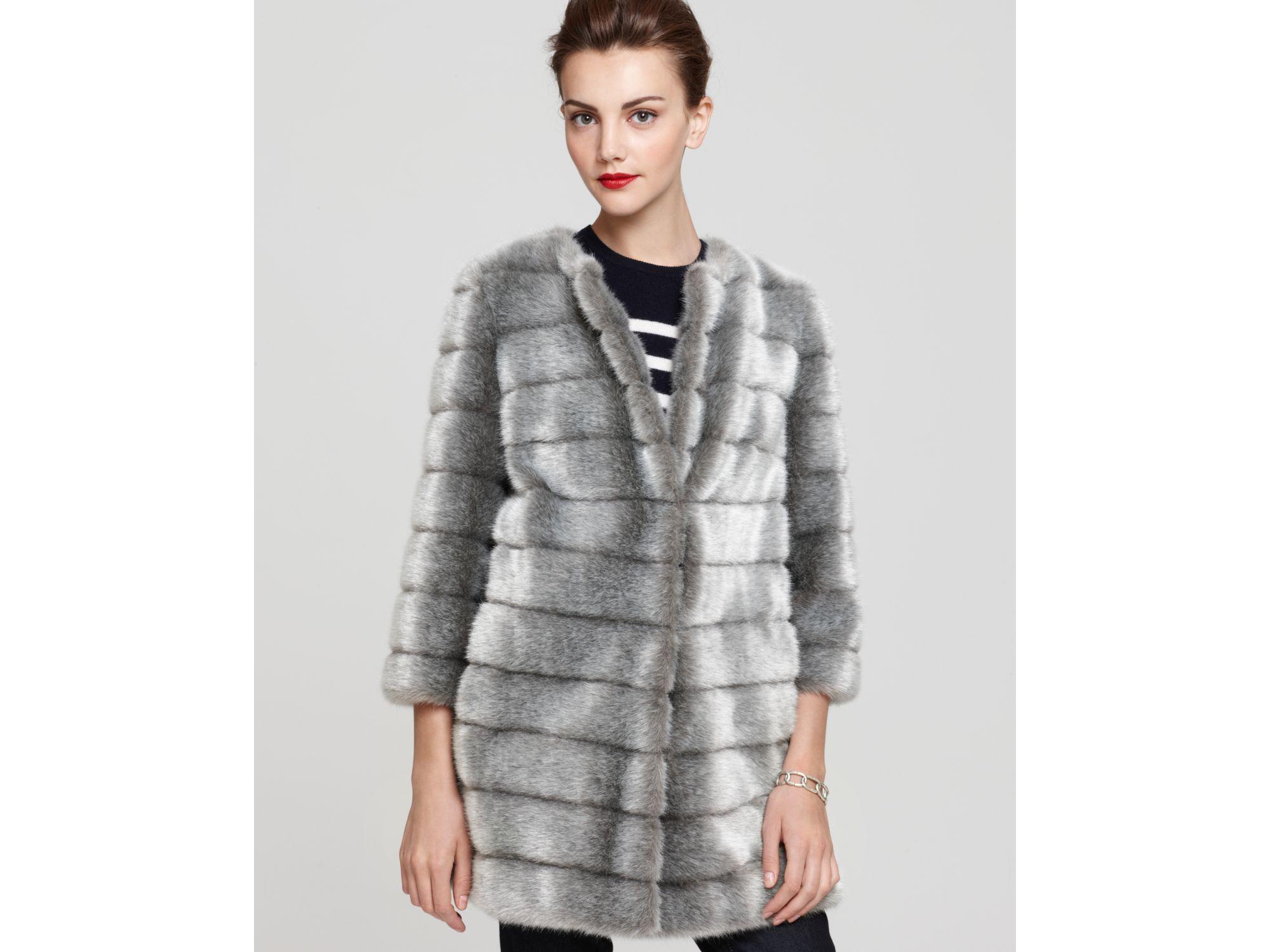 Sam edelman Faux Mink Fur Coat in Gray | Lyst