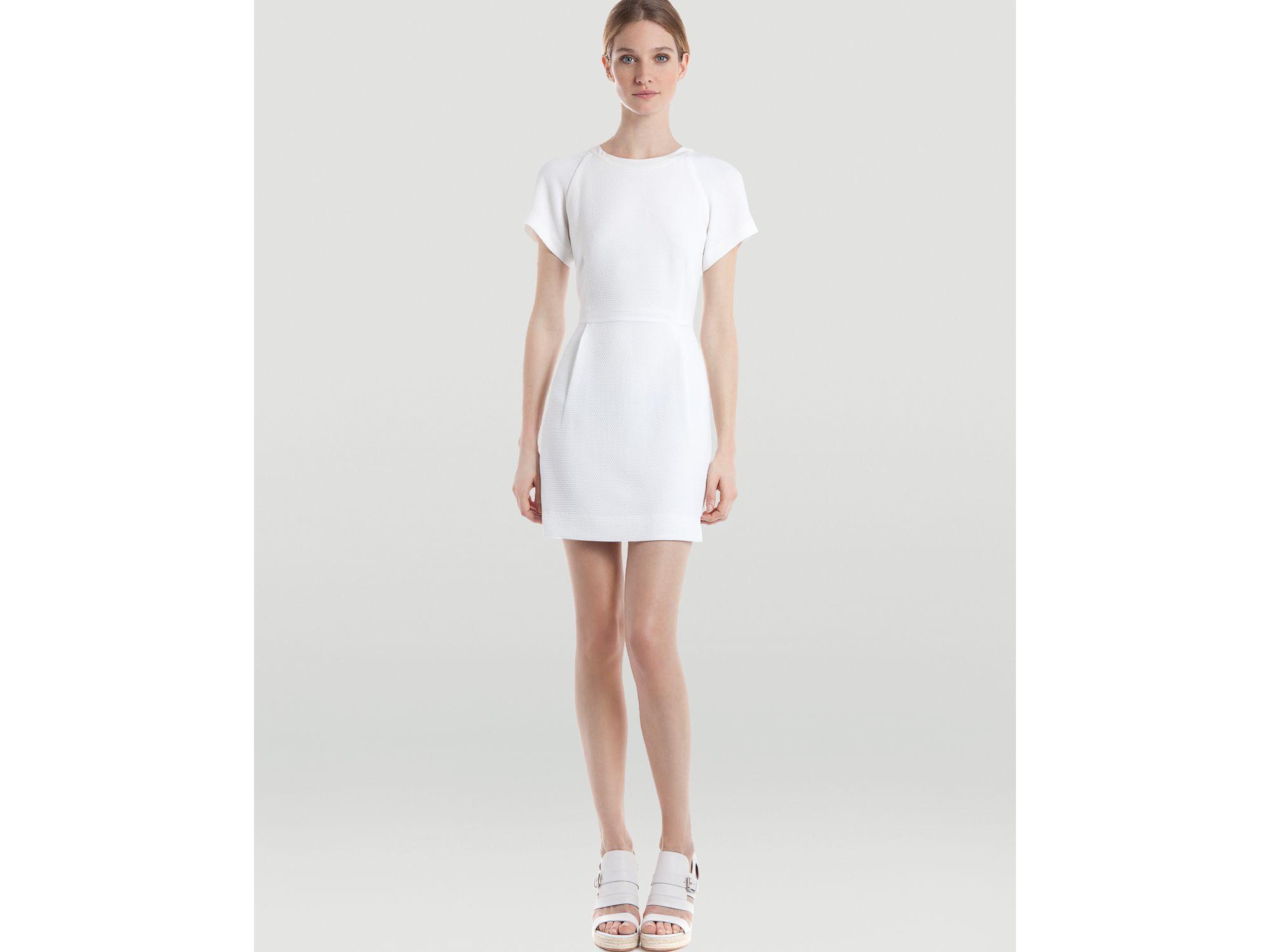 Sandro Short Sleeve Dress Ricrac in White | Lyst